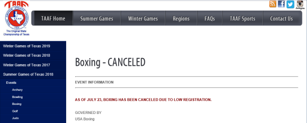 Games of Texas Cancelled 2018
