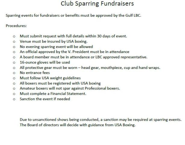 2019 -Gulf LBC Club Sparring Fundraisers